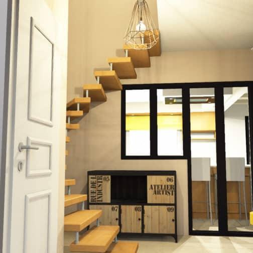 Rendu 3D réaliste du hall d'entrée ouvert sur la cuisine pour une verrière de type industriel