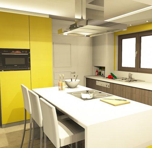Rendu 3D cuisine blanche façades bois gris, Gaëlle Maire architecte d'intérieur, Liège