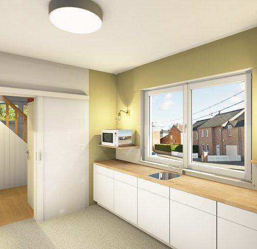 Design de la partie évier de la nouvelle cuisine en image réaliste 3D