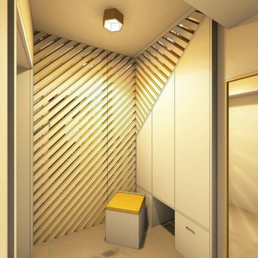 Hall d'entrée avec claustra ajouré après l'aménagement intérieur graphique en image réaliste 3D