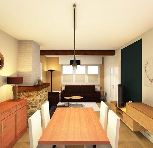 Salon & salle à manger après décoration & aménagement intérieur image réaliste en 3D