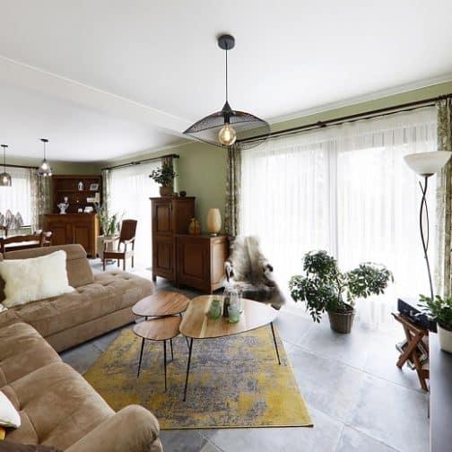 Salon & salle à manger vert lumineux après conseils déco Gaëlle Maire Architecte d'intérieur